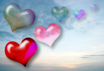 Stock Photo of Love Hearts on Sky Background