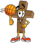 Clip Art Graphic of a Wooden Cross Cone Cartoon Character
