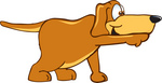 Clip Art Graphic of a Cute Brown Dog Cartoon Character